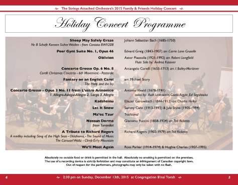 2015 SAO Holiday Concert Programme